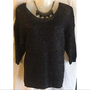 Jennifer Lopez Black Metallic Sweater Top Sz Large